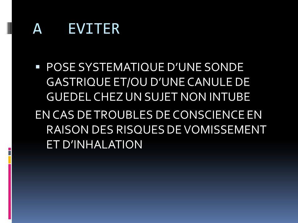 A EVITERPOSE SYSTEMATIQUE D'UNE SONDE GASTRIQUE ET/OU D'UNE CANULE DE GUEDEL CHEZ UN SUJET NON INTUBE.