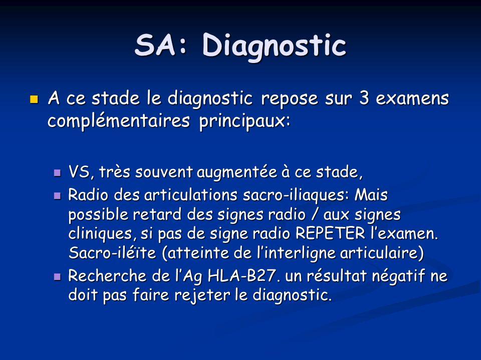 SA: DiagnosticA ce stade le diagnostic repose sur 3 examens complémentaires principaux: VS, très souvent augmentée à ce stade,