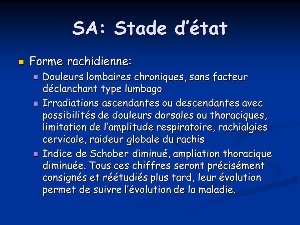 SA: Stade d'état Forme rachidienne:
