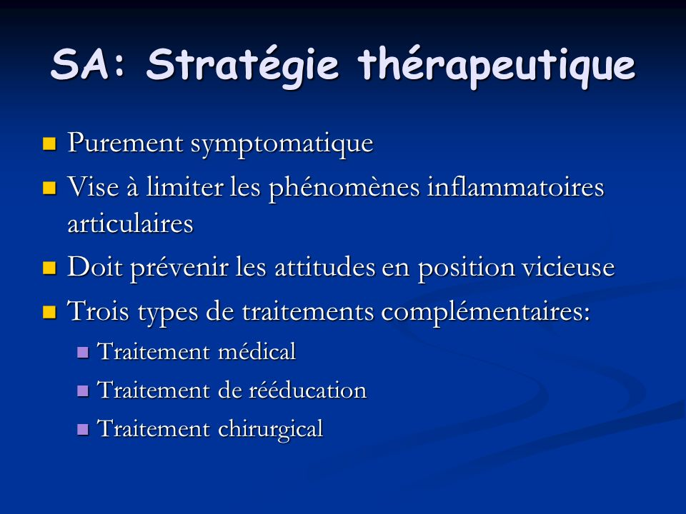 SA: Stratégie thérapeutique