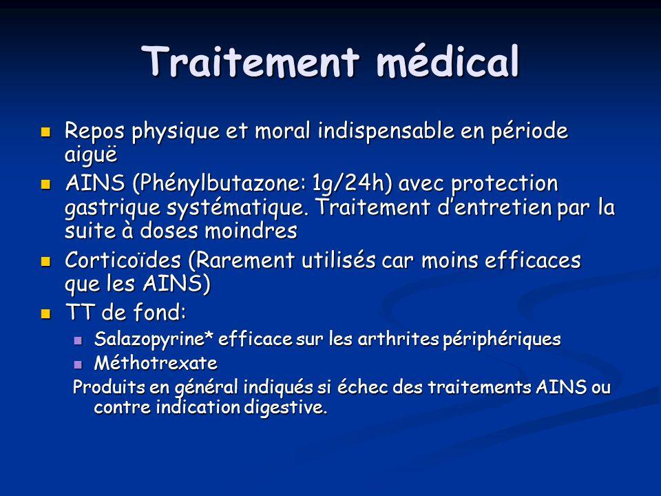 Traitement médical Repos physique et moral indispensable en période aiguë.