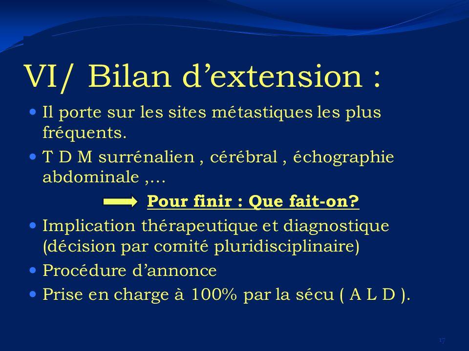 VI/ Bilan d'extension :