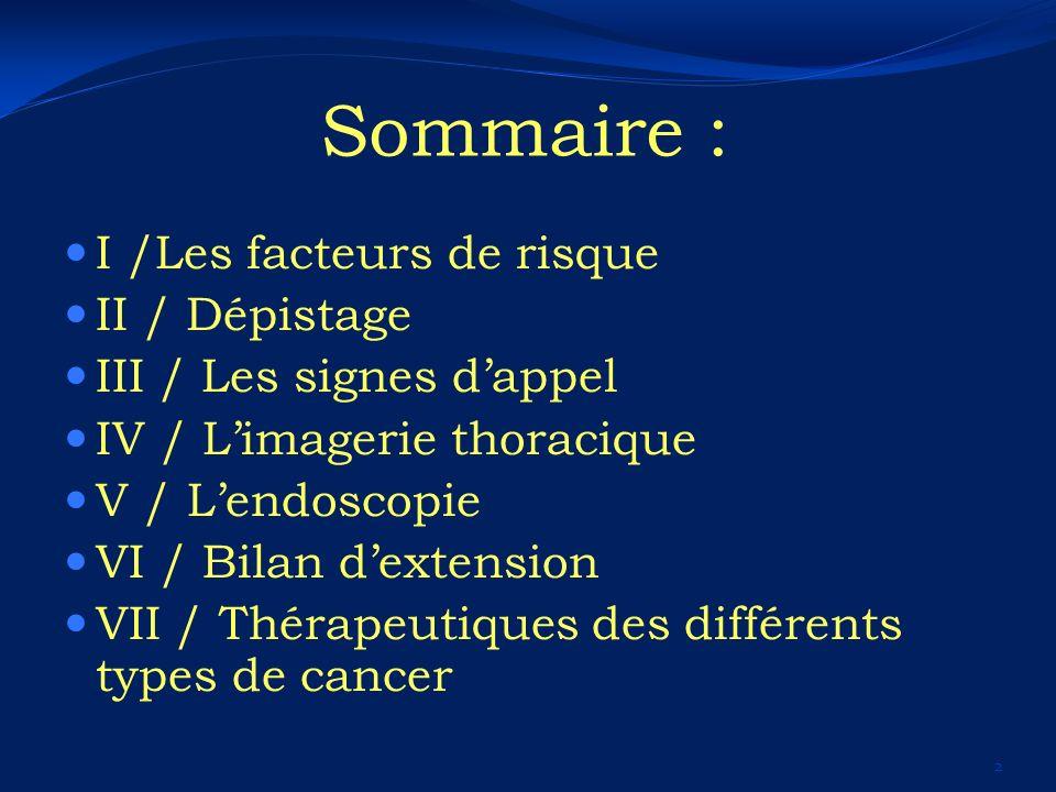 Sommaire : I /Les facteurs de risque II / Dépistage