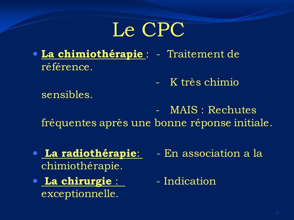 Le CPC La chimiothérapie : - Traitement de référence.