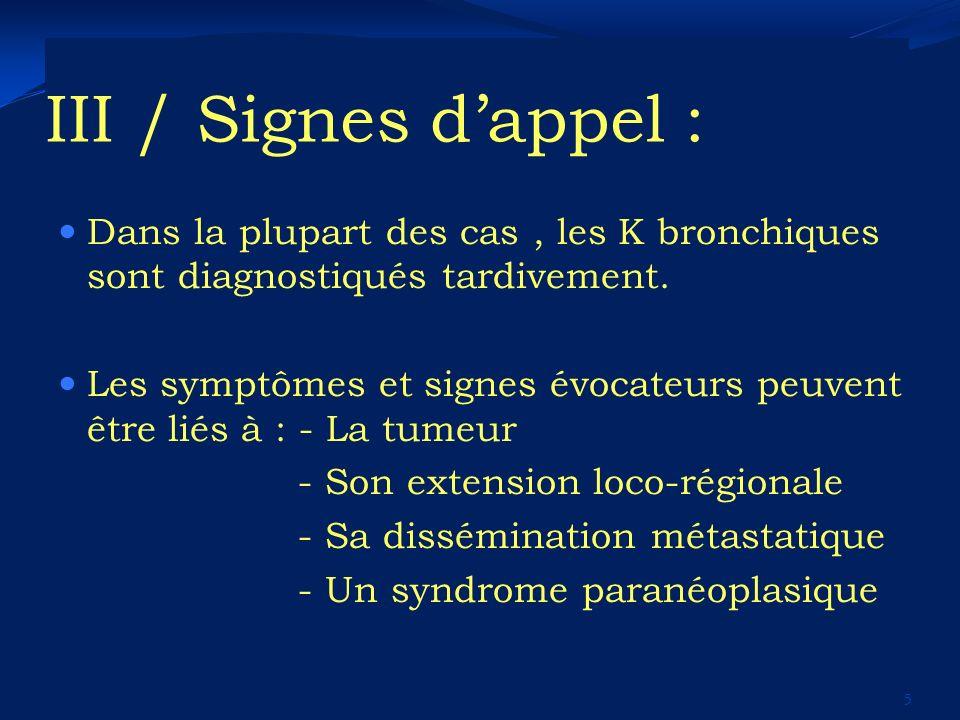 III / Signes d'appel : Dans la plupart des cas , les K bronchiques sont diagnostiqués tardivement.