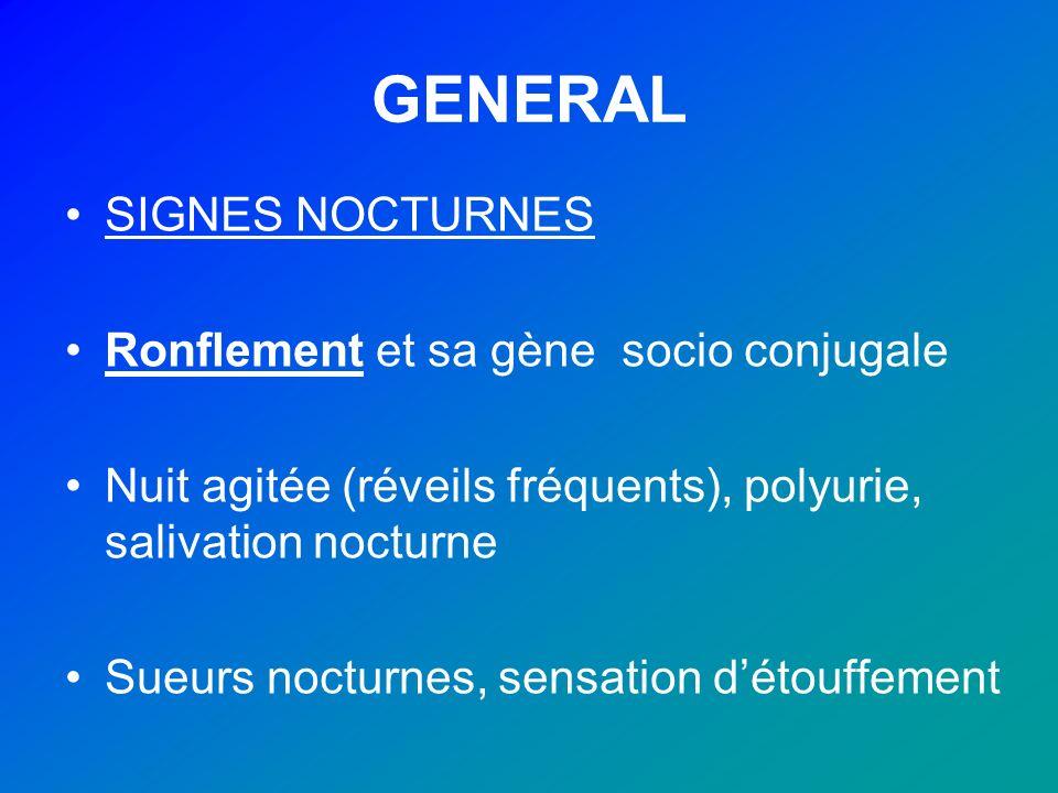 GENERAL SIGNES NOCTURNES Ronflement et sa gène socio conjugale