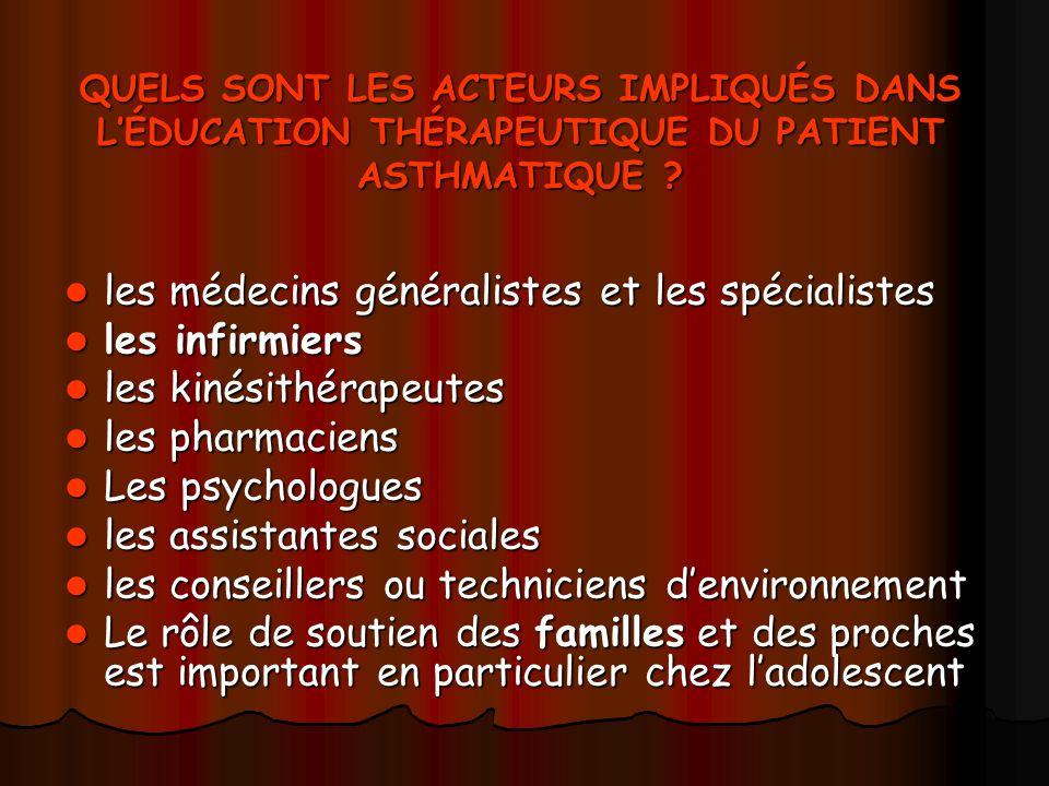 les médecins généralistes et les spécialistes les infirmiers