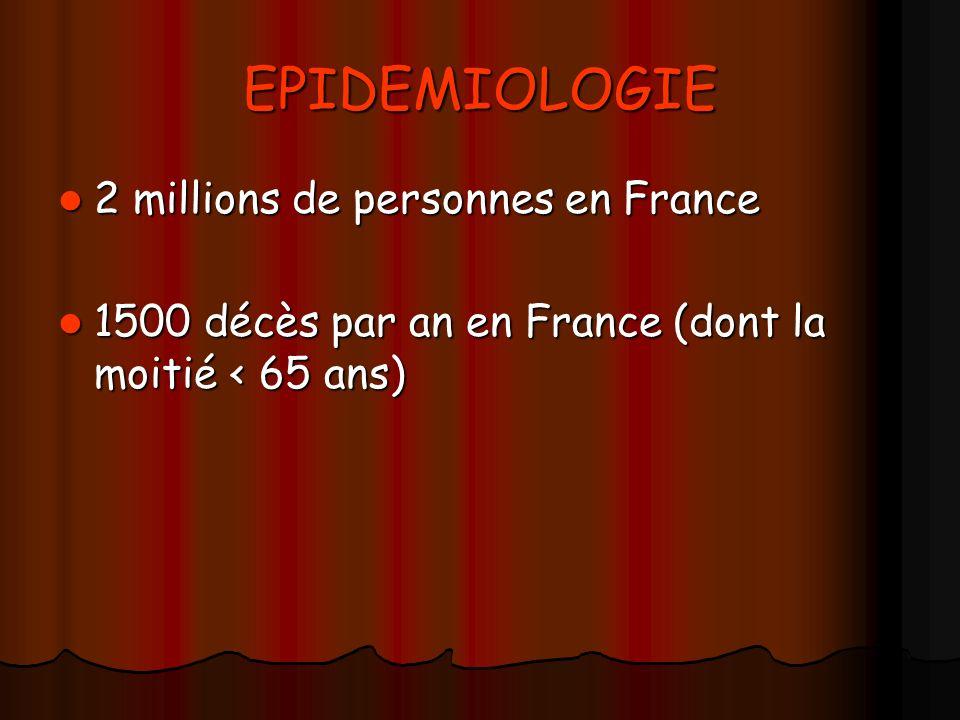 EPIDEMIOLOGIE 2 millions de personnes en France