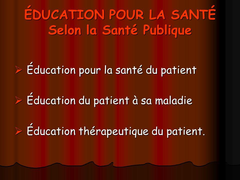 ÉDUCATION POUR LA SANTÉ Selon la Santé Publique