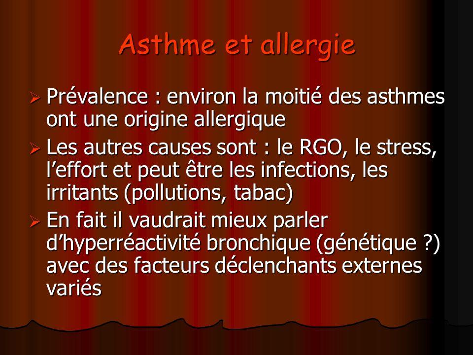 Asthme et allergie Prévalence : environ la moitié des asthmes ont une origine allergique.