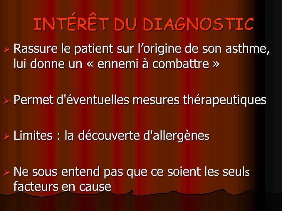 INTÉRÊT DU DIAGNOSTIC Rassure le patient sur l'origine de son asthme, lui donne un « ennemi à combattre »