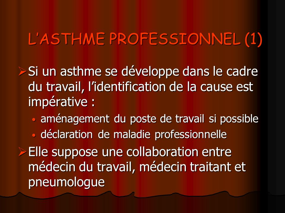 L'ASTHME PROFESSIONNEL (1)