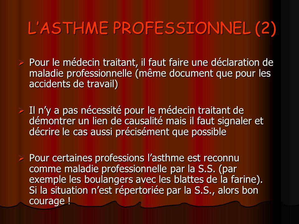 L'ASTHME PROFESSIONNEL (2)