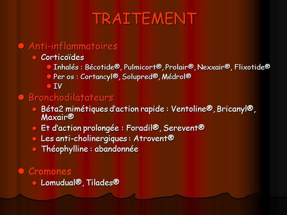 TRAITEMENT Anti-inflammatoires Bronchodilatateurs Cromones Corticoïdes