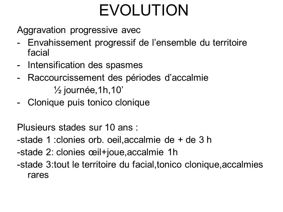 EVOLUTION Aggravation progressive avec