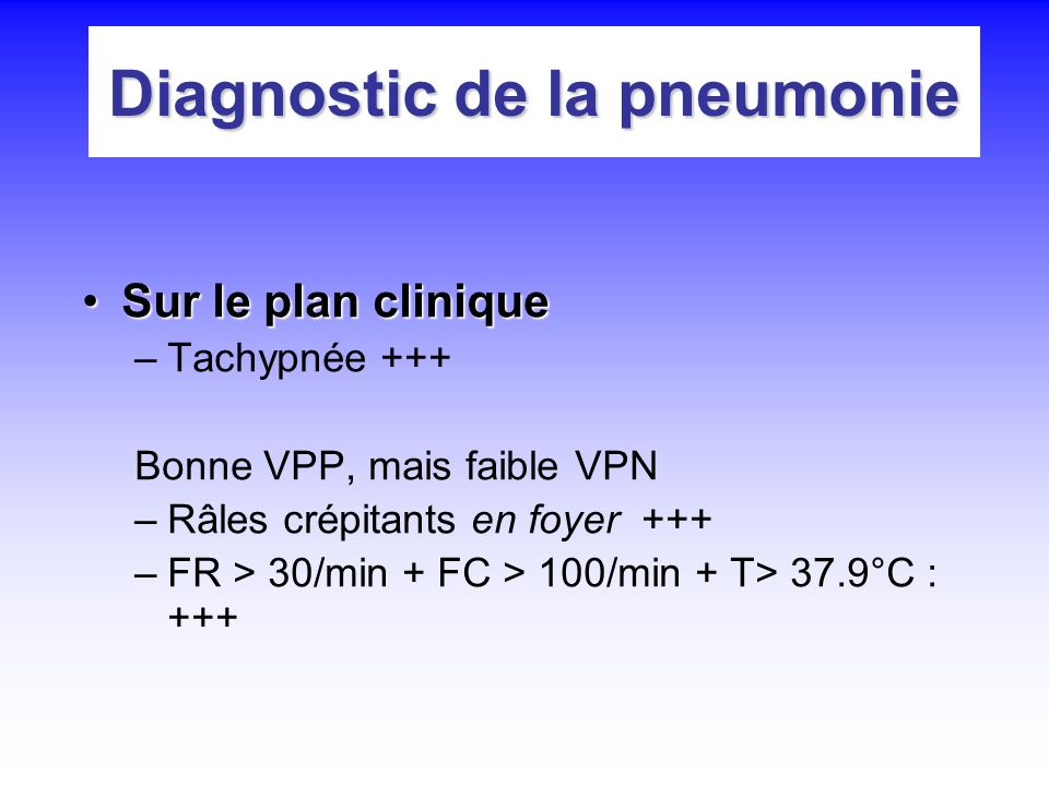 Diagnostic de la pneumonie