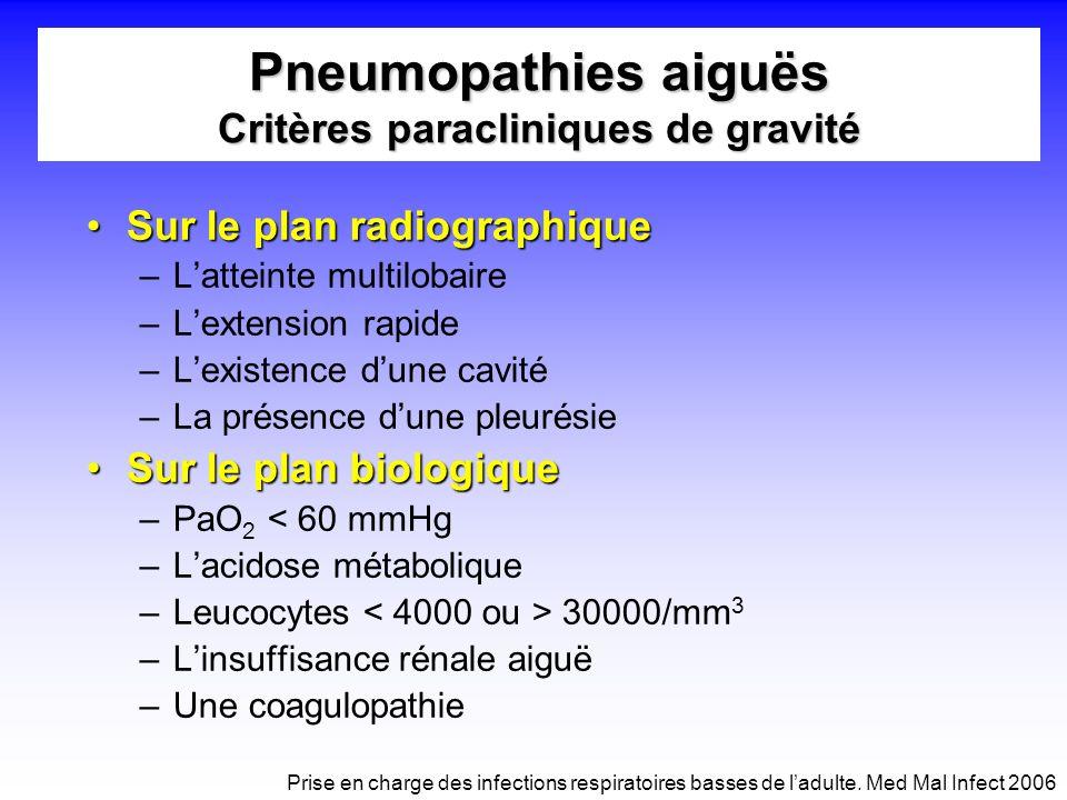Pneumopathies aiguës Critères paracliniques de gravité
