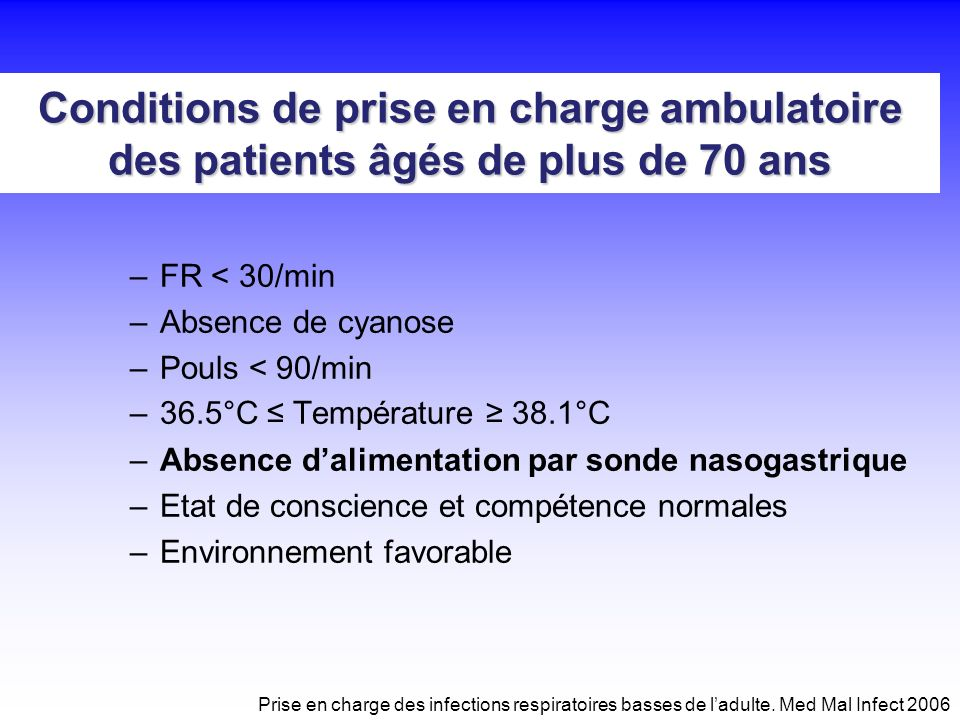 Conditions de prise en charge ambulatoire des patients âgés de plus de 70 ans