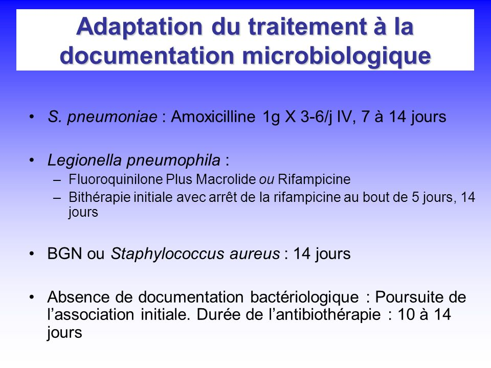 Adaptation du traitement à la documentation microbiologique