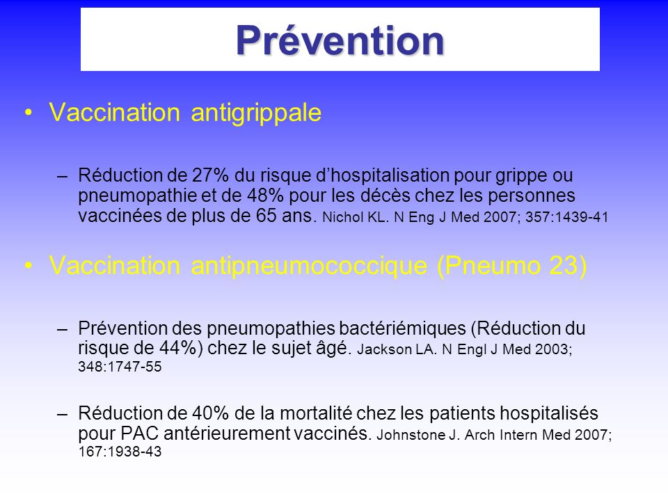 Prévention Vaccination antigrippale