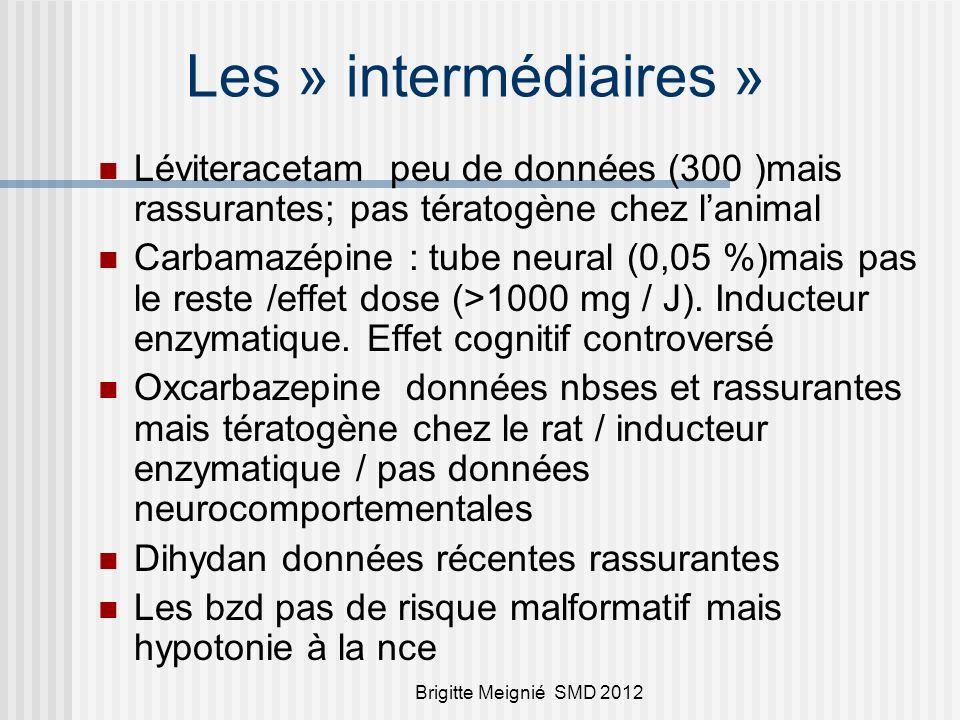 Les » intermédiaires » Léviteracetam peu de données (300 )mais rassurantes; pas tératogène chez l'animal.