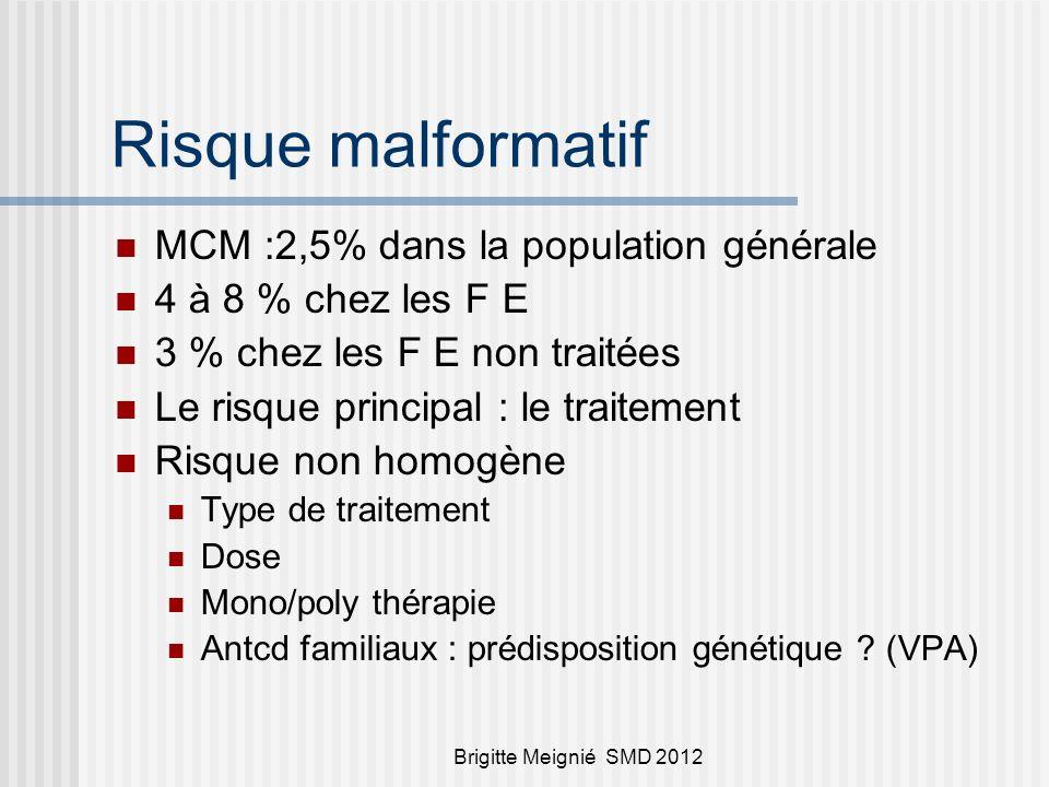 Risque malformatif MCM :2,5% dans la population générale