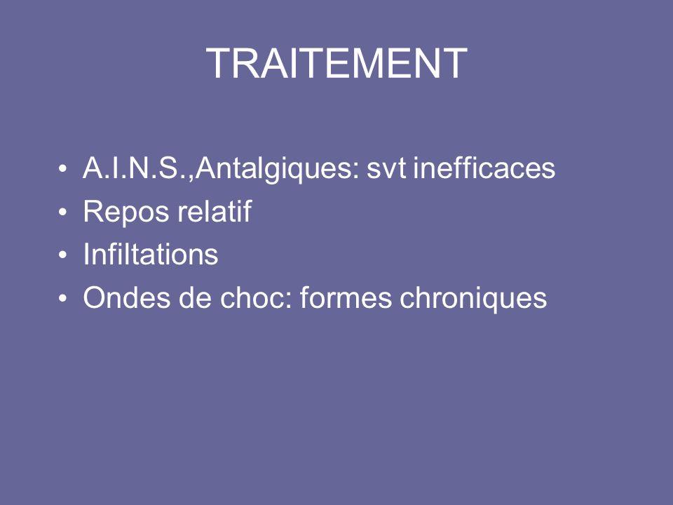 TRAITEMENT A.I.N.S.,Antalgiques: svt inefficaces Repos relatif