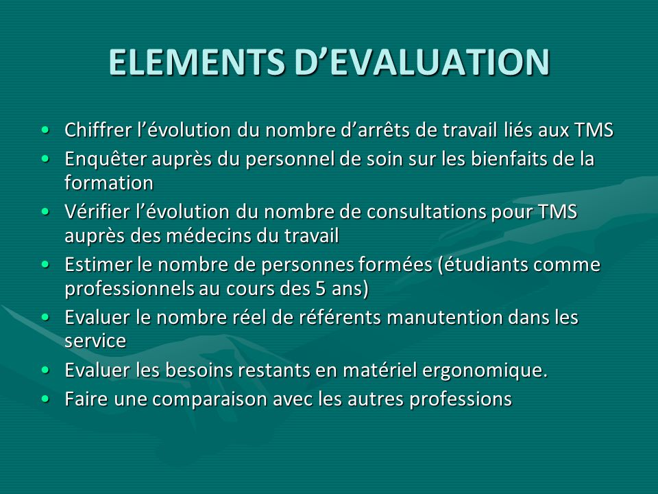 ELEMENTS D'EVALUATION