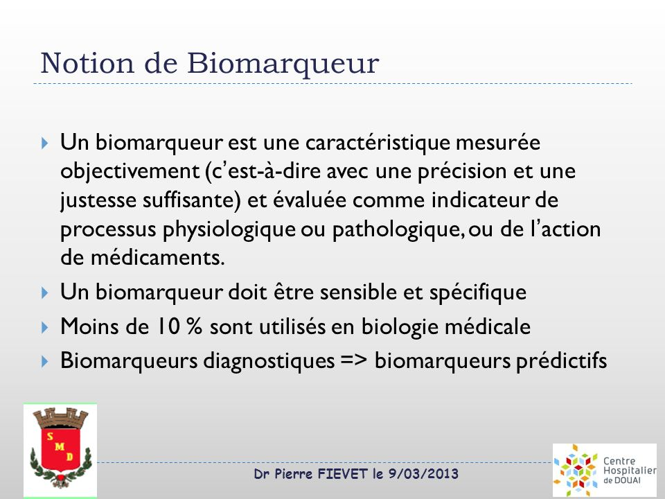 Notion de Biomarqueur