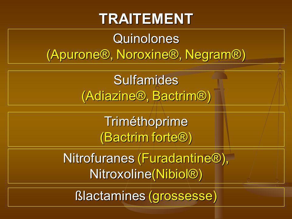 TRAITEMENT Quinolones (Apurone®, Noroxine®, Negram®) Sulfamides
