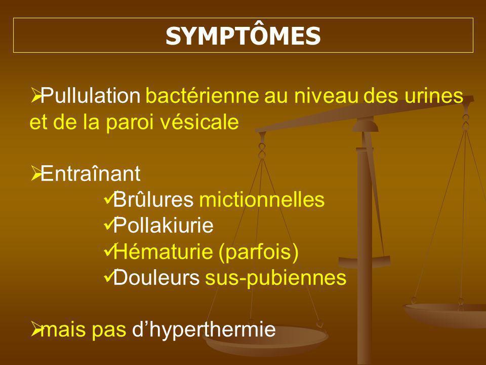 SYMPTÔMES Pullulation bactérienne au niveau des urines et de la paroi vésicale. Entraînant. Brûlures mictionnelles.