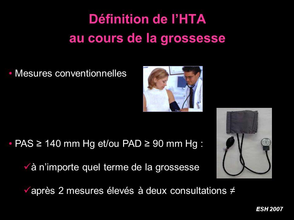 Définition de l'HTA au cours de la grossesse