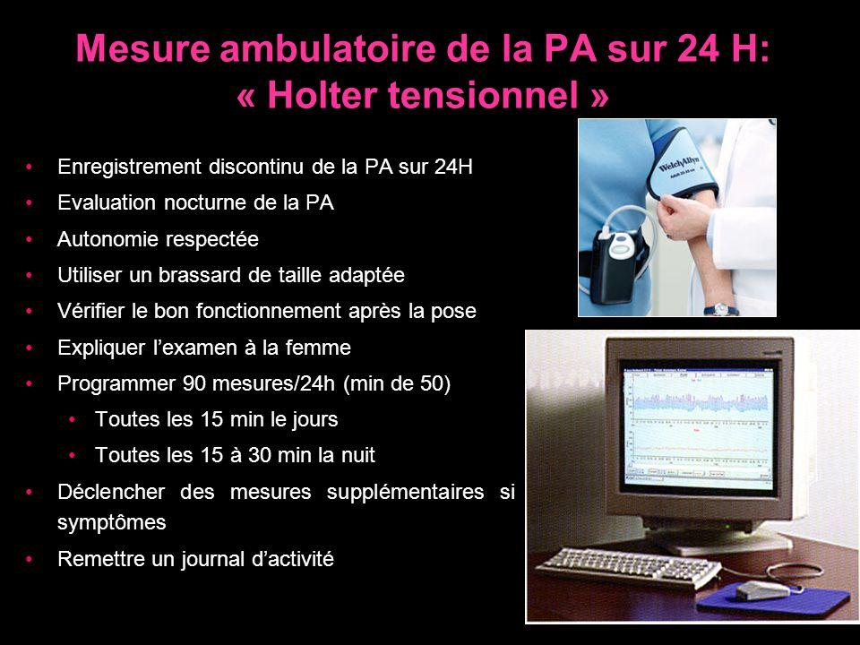 Mesure ambulatoire de la PA sur 24 H: « Holter tensionnel »
