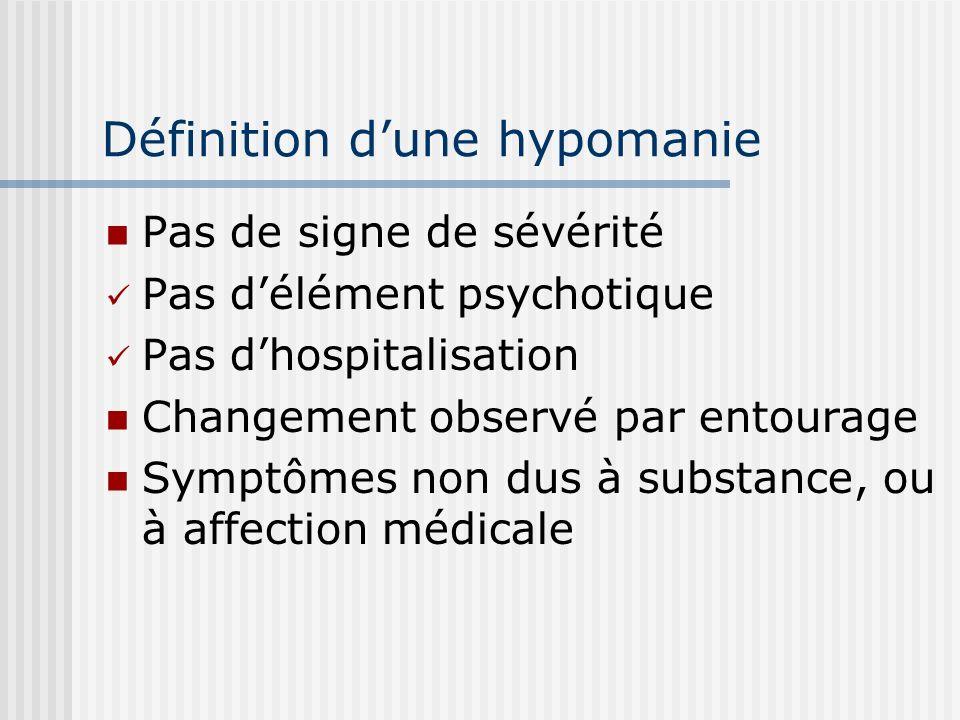 Définition d'une hypomanie