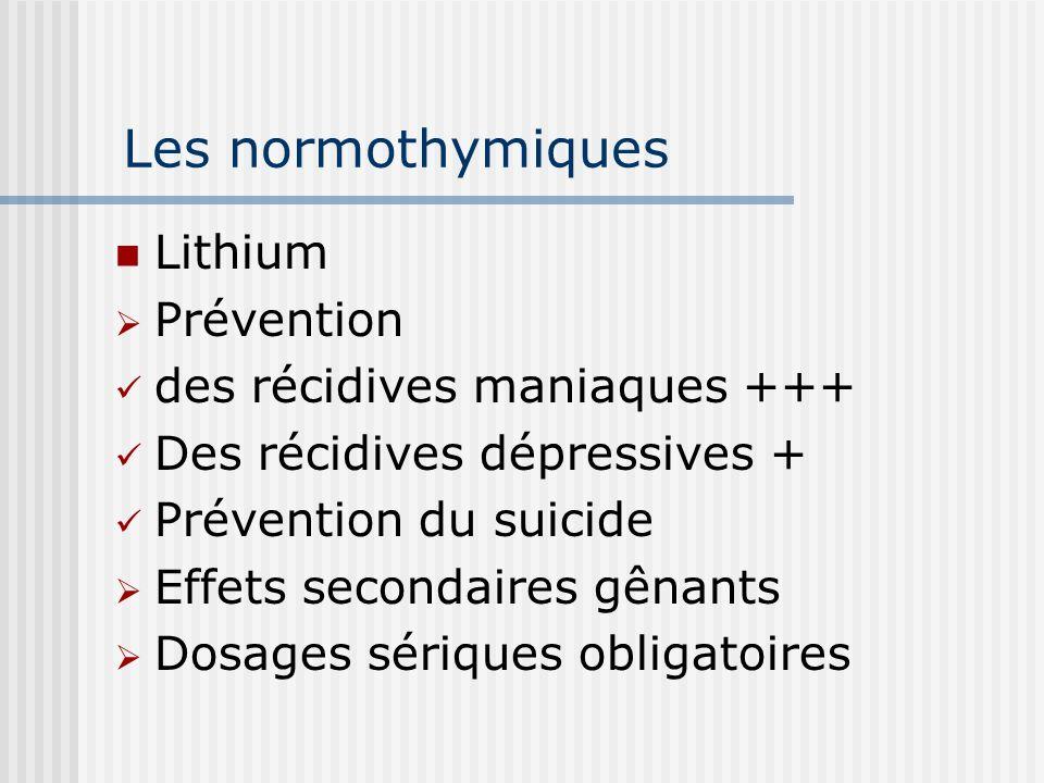 Les normothymiques Lithium Prévention des récidives maniaques +++