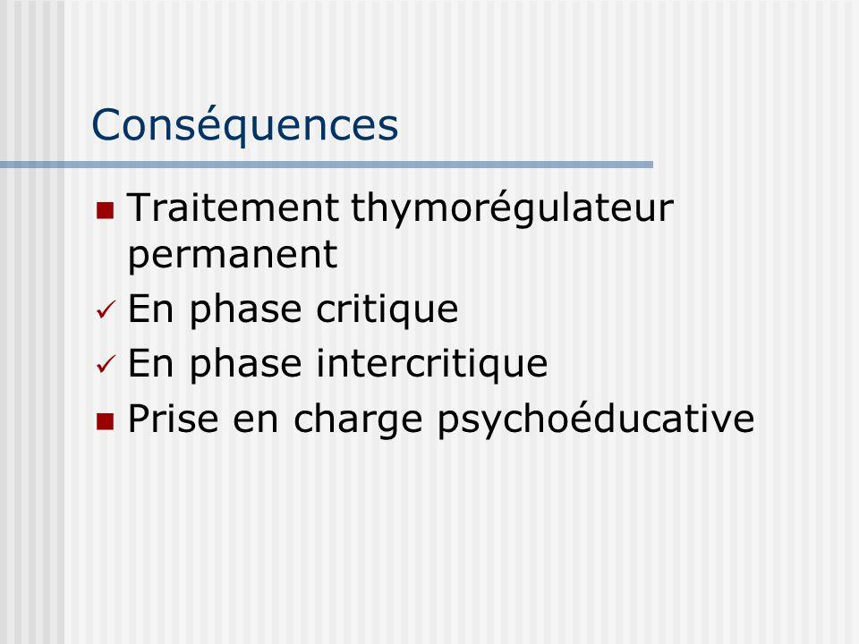 Conséquences Traitement thymorégulateur permanent En phase critique