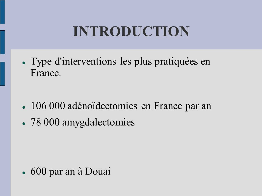 INTRODUCTION Type d interventions les plus pratiquées en France.