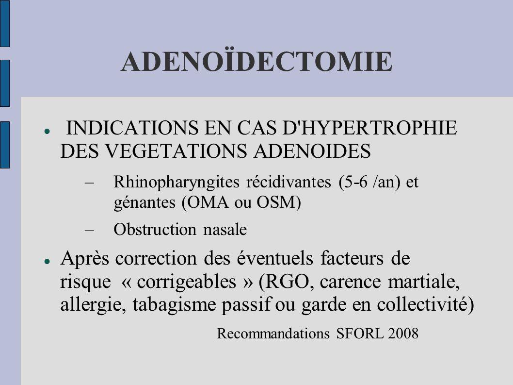 ADENOÏDECTOMIE INDICATIONS EN CAS D HYPERTROPHIE DES VEGETATIONS ADENOIDES. Rhinopharyngites récidivantes (5-6 /an) et génantes (OMA ou OSM)