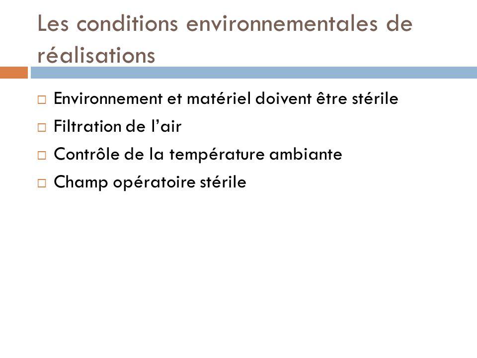 Les conditions environnementales de réalisations