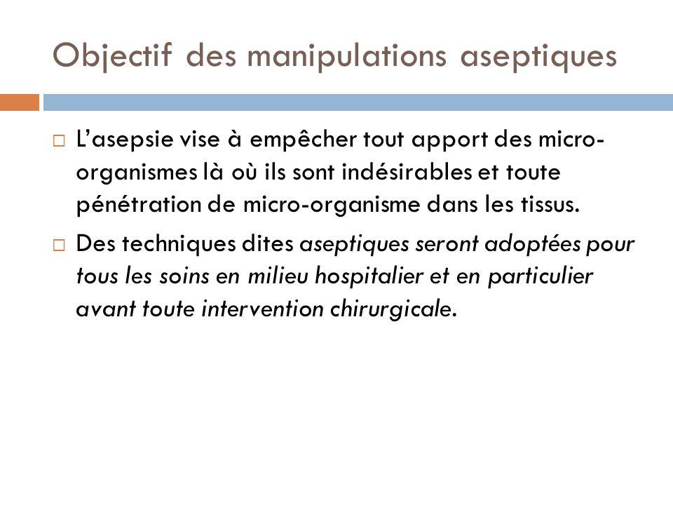 Objectif des manipulations aseptiques