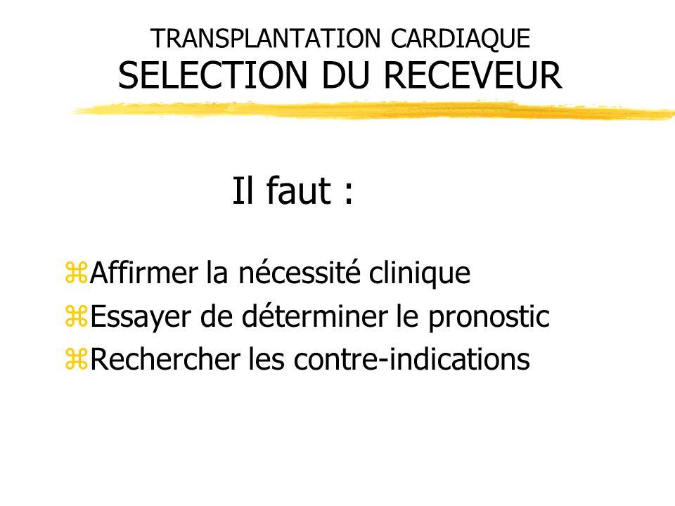 TRANSPLANTATION CARDIAQUE SELECTION DU RECEVEUR