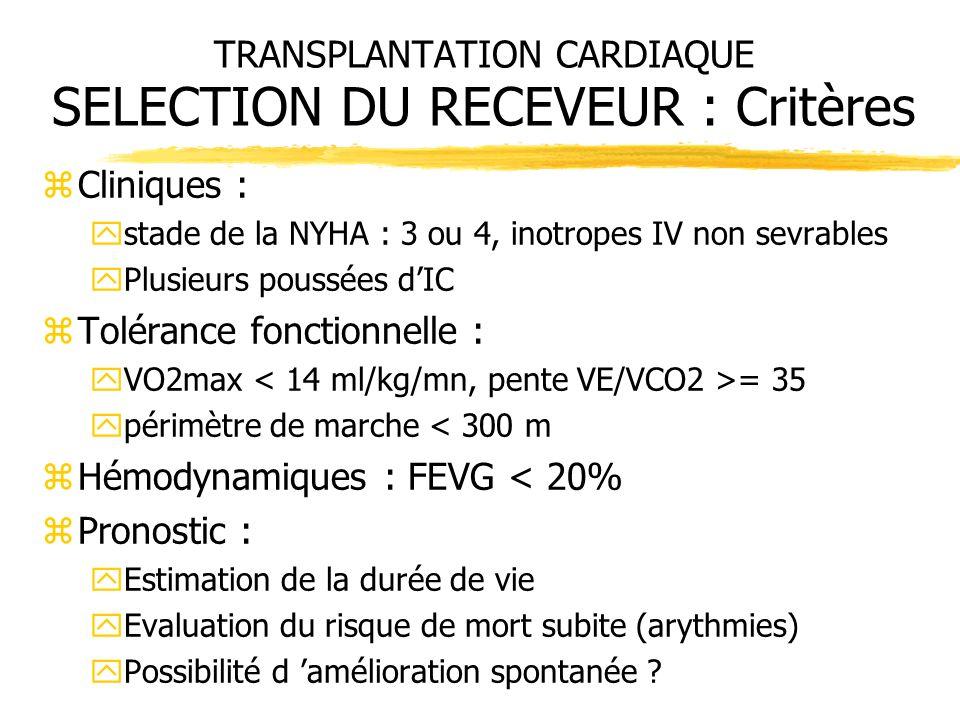TRANSPLANTATION CARDIAQUE SELECTION DU RECEVEUR : Critères