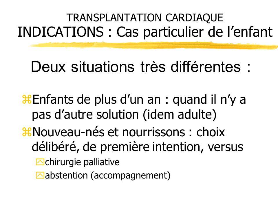 TRANSPLANTATION CARDIAQUE INDICATIONS : Cas particulier de l'enfant