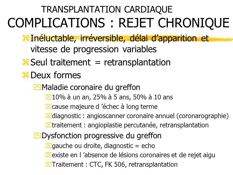 TRANSPLANTATION CARDIAQUE COMPLICATIONS : REJET CHRONIQUE