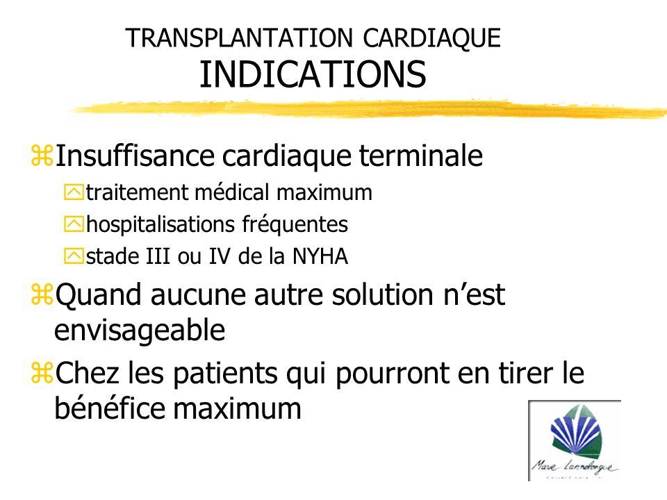TRANSPLANTATION CARDIAQUE INDICATIONS