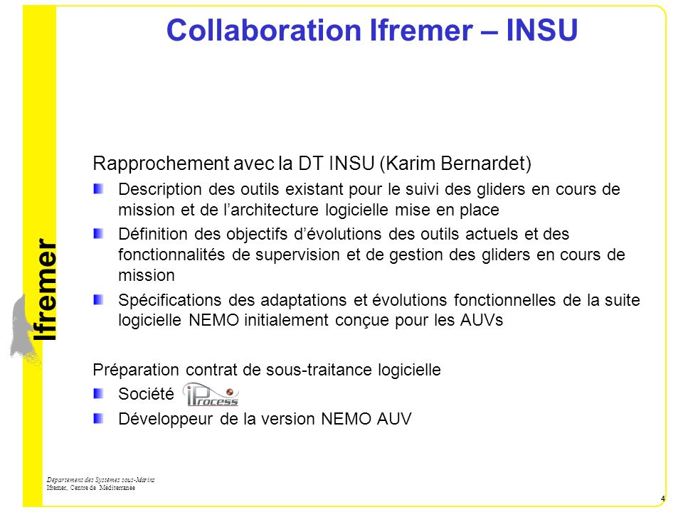 Collaboration Ifremer – INSU
