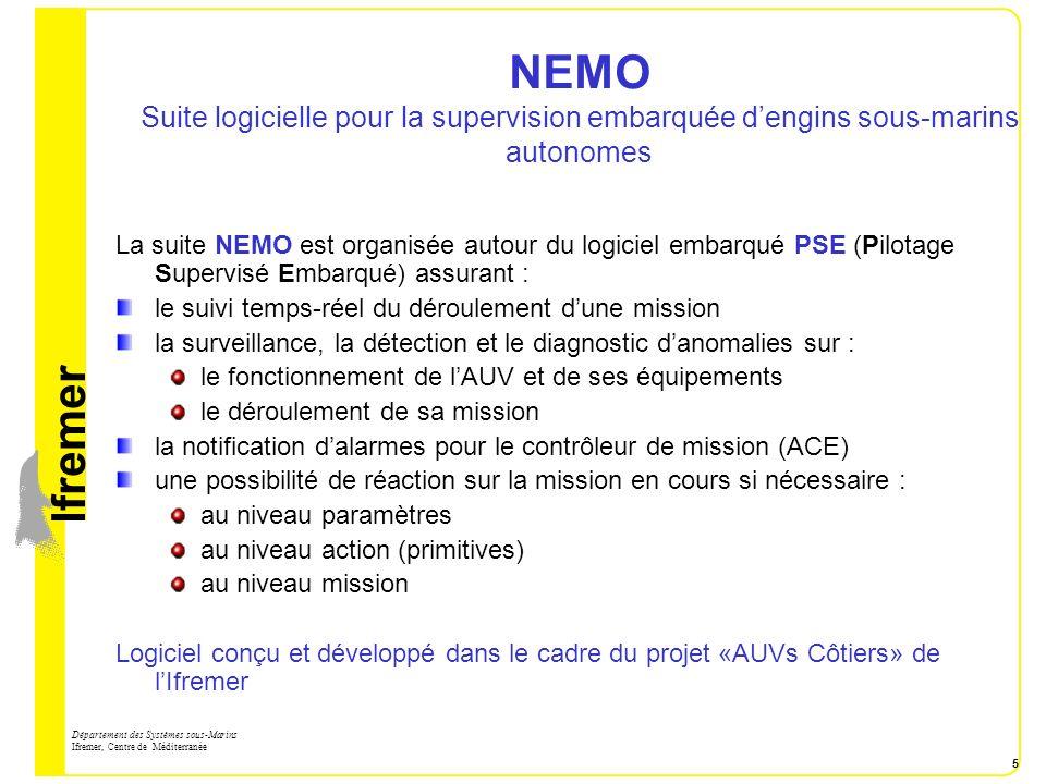 NEMO Suite logicielle pour la supervision embarquée d'engins sous-marins autonomes