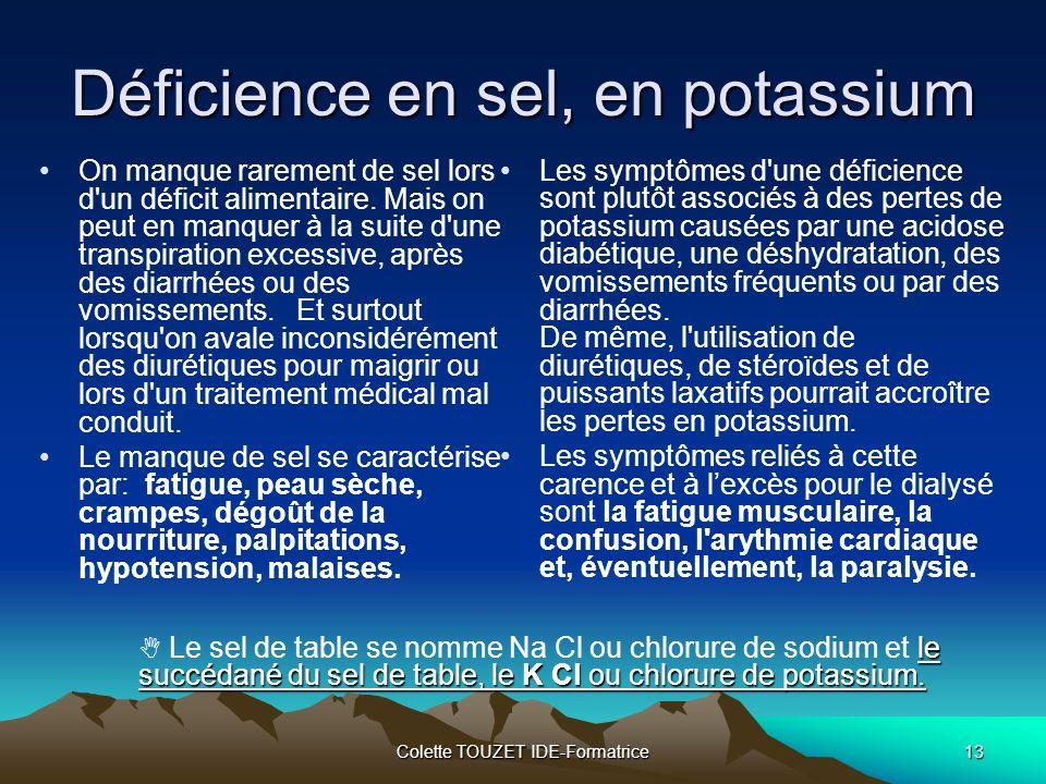 Déficience en sel, en potassium