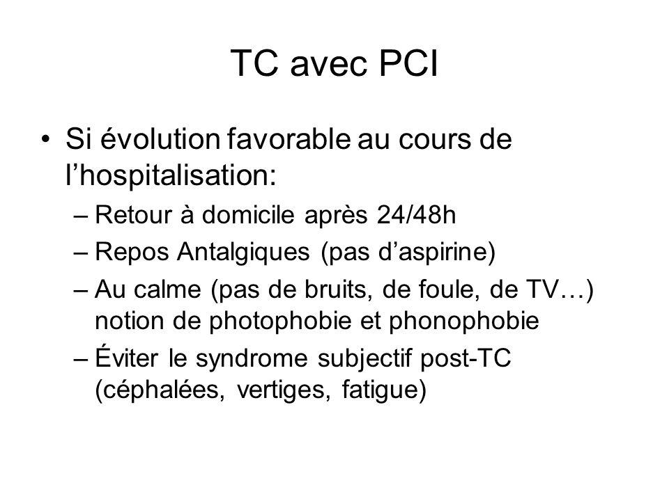 TC avec PCI Si évolution favorable au cours de l'hospitalisation: