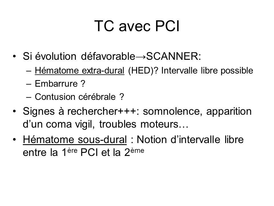 TC avec PCI Si évolution défavorable→SCANNER: